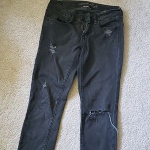 American eagle gray distressed jeggings 6